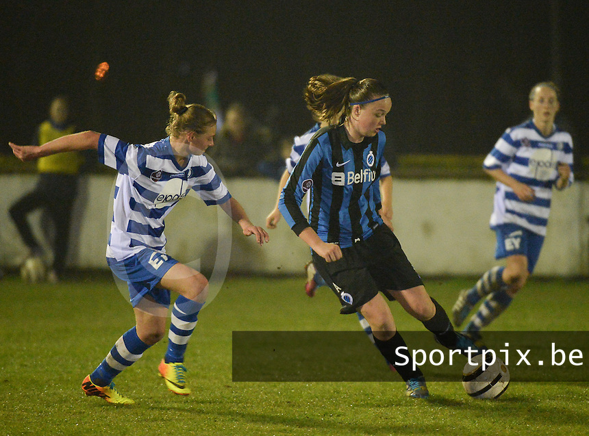 20140326 - AALTER , BELGIUM : Brugge's Tine De Caigny (r) pictured during the soccer match between the women teams of Club Brugge Vrouwen  and AA Gent  Ladies , on the 21th matchday of the BeNeleague competition Friday 14 March 2014 in Aalter. PHOTO DAVID CATRY