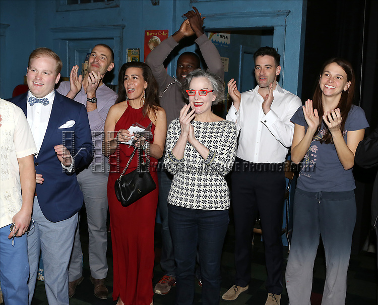 Jacob Keith Watson, Charlie Pollock, Jeanine Tesori, Joshua Henry, Jennifer Smith, Colin Donnell and Sutton Foster during the Opening Night Broadway AEA Gypsy Robe Ceremony honoring Anastacia McCleskey for 'Violet'  at The American Airlines Theatre on April 20, 2014 in New York City.