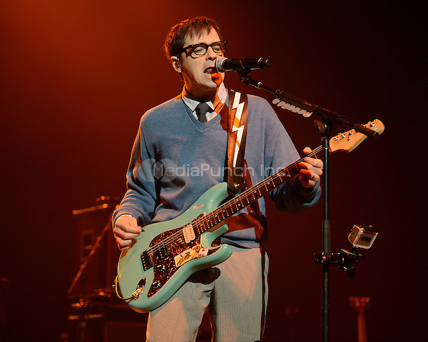 HOLLYWOOD FL - NOVEMBER 8 : Rivers Cuomo of Weezer performs at Hard Rock live held at the Seminole Hard Rock hotel & Casino on November 8, 2012 in Hollywood, Florida.  Credit: mpi04/MediaPunch Inc.