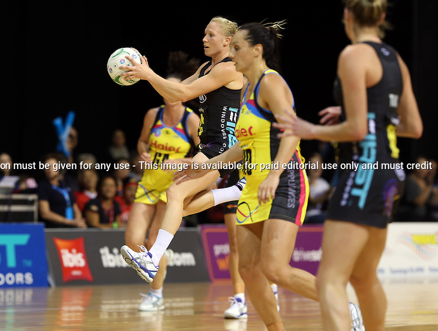13.05.2013 Magic's Laura Langman in action during the ANZ Champs netball match between the Magic and Pulse played at Claudelands Arena in Hamilton. Mandatory Photo Credit ©Michael Bradley.