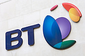 British Telecom logo at the entrance to BT Head Office, City of London