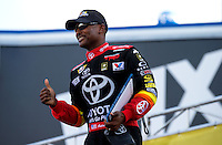 Sep 13, 2013; Charlotte, NC, USA; NHRA top fuel dragster driver Antron Brown during qualifying for the Carolina Nationals at zMax Dragway. Mandatory Credit: Mark J. Rebilas-