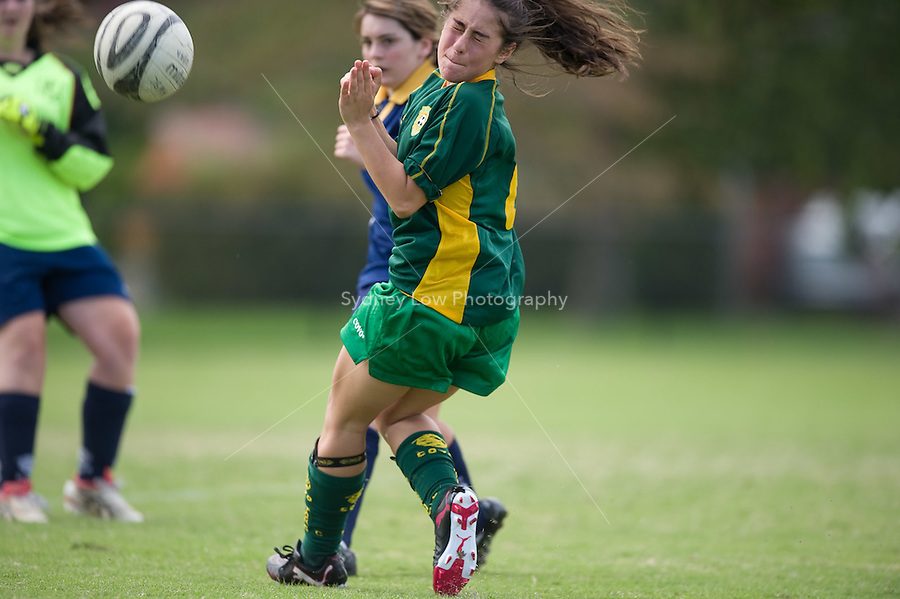MELBOURNE, AUSTRALIA - April 18, 2010. Round 1 match of the under 15/16A competition in the 2010 FFV winter season between Ashburton WSC and Knox City FC at Ashburton Park. Photo Sydney Low www.syd-low.com