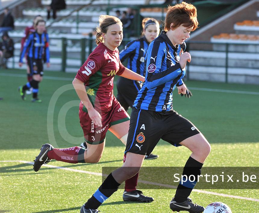 Dames Zulte Waregem - Club Brugge : Jolien Nuytten voor Eva Van Daele.foto Joke Vuylsteke / Vrouwenteam.be
