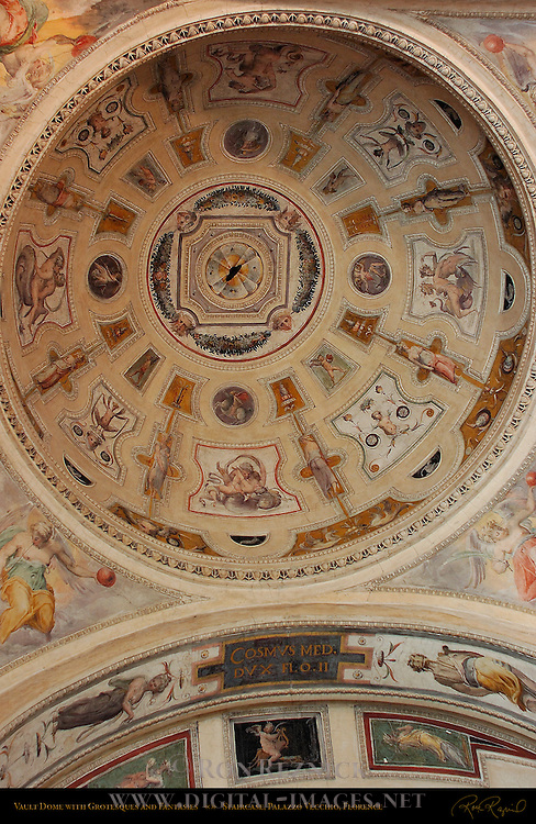 Vault Dome with Grotesques and Fantasies Monumental Staircase Palazzo Vecchio Florence