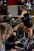 7th September 2017, Te Rauparaha Arena, Wellington, New Zealand; Taini Jamison Netball Trophy; New Zealand versus England;  Silver Ferns captain Katrina Grant sails over the media tables as she chases down a long pass