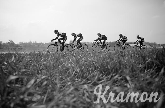 The strongest outfit out there: Team OmegaPharma-QuickStep doing the recon.<br /> Zdenek Stybar (CZE/OPQS), Tom Boonen (BEL/OPQS), Niki Terpstra (NLD/OPQS), Matteo Trentin (ITA/OPQS) & Guillaume Van Keirsbulck (BEL/OPQS)<br /> <br /> 2014 Paris-Roubaix reconnaissance