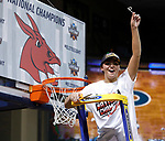 SIOUX FALLS, SD: MARCH 23:  Megan Skaggs of Central Missouri clips her piece of the net after defeating Ashland 66-52 to win the 2018 Division II Women's Basketball Championship at the Sanford Pentagon in Sioux Falls, S.D. (Photo by Dick Carlson/Inertia)