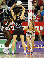31.08.2016 Silver Ferns Bailey Mes and South Africa's Karla Mostert in action during the Netball Quad Series match between the Silver Ferns and South Africa played at Claudelands Arena in Hamilton. Mandatory Photo Credit ©Michael Bradley.