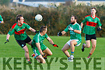 My Ball<br /> John Griffin Beale, Paud Costello Ballyduff and Mikey Boyle Ballyduff have eyes for the ball during the North Kerry Championship game played in Ballyduff on Sunday.