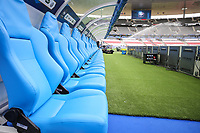 General view of the dug-outs inside of Stade de France ahead of the International Friendly match between France and England at Stade de France, Paris, France on 13 June 2017. Photo by David Horn/PRiME Media Images.