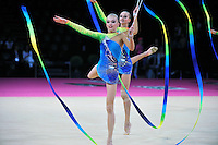 September 24, 2011; Montpellier, France;  Russia group performs with ribbon + hoop at 2011 World Championships Montpellier. Photo by Tom Theobald.