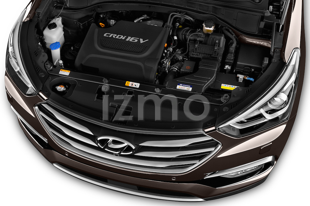 Car Stock 2016 Hyundai Santa-Fe Executive 5 Door Suv Engine  high angle detail view