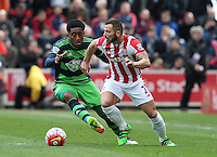 Stoke City's Phil Bardsley battles with Swansea City's Leroy Fer  during the Barclays Premier League match between Stoke City and Swansea City played at Britannia Stadium, Stoke on April 2nd 2016