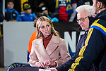 Solna 2015-10-12 Fotboll EM-kval , Sverige - Moldavien :  <br /> Kanal 5 programledare Karin Frick  i TV-studion efter matchen mellan Sverige och Moldavien<br /> (Photo: Kenta J&ouml;nsson) Keywords:  Sweden Sverige Solna Stockholm Friends Arena EM Kval EM-kval UEFA Euro European 2016 Qualifying Group Grupp G Moldavien Moldova TV TV-k&auml;ndis k&auml;ndis portr&auml;tt portrait