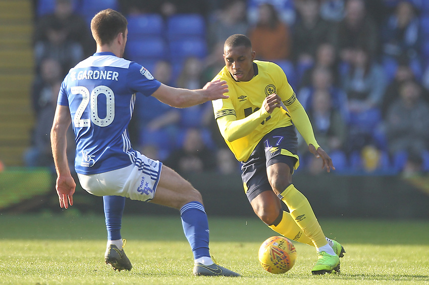 Blackburn Rovers Amari'i Bell in action with Birmingham City's Gary Gardner <br /> <br /> Photographer Mick Walker/CameraSport<br /> <br /> The EFL Sky Bet Championship - Birmingham City v Blackburn Rovers - Saturday 23rd February 2019 - St Andrew's - Birmingham<br /> <br /> World Copyright © 2019 CameraSport. All rights reserved. 43 Linden Ave. Countesthorpe. Leicester. England. LE8 5PG - Tel: +44 (0) 116 277 4147 - admin@camerasport.com - www.camerasport.com