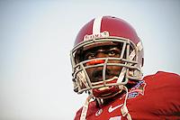 Jan 7, 2010; Pasadena, CA, USA; Alabama Crimson Tide defensive back (21) Dre Kirkpatrick against the Texas Longhorns during the 2010 BCS national championship game at the Rose Bowl. Alabama defeated Texas 37-21. Mandatory Credit: Mark J. Rebilas-