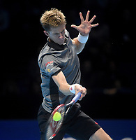 Kevin Anderson in action against Novak Djokovic in their semi final match <br /> <br /> Photographer Hannah Fountain/CameraSport<br /> <br /> International Tennis - Nitto ATP World Tour Finals Day 7 - O2 Arena - London - Saturday 17th November 2018<br /> <br /> World Copyright &copy; 2018 CameraSport. All rights reserved. 43 Linden Ave. Countesthorpe. Leicester. England. LE8 5PG - Tel: +44 (0) 116 277 4147 - admin@camerasport.com - www.camerasport.com