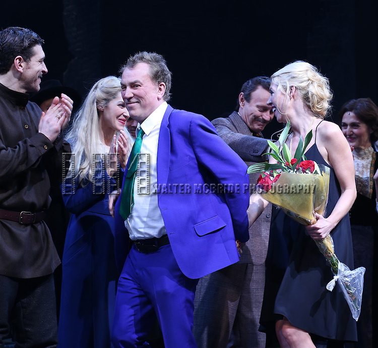 Tam Mutu, Des McAnuff and Kelly Devine during the Broadway Opening Night Performance Curtain Call for 'Doctor Zhivago' at The Broadway Theatre on April 21, 2015 in New York City.