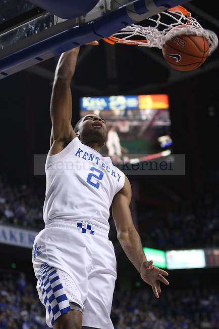 UK guard Aaron Harrison dunks the ball during UK vs. Montana State in Rupp Arena in Lexington, Ky., on Sunday, November 23,  2014. Photo by Emily Wuetcher | Staff