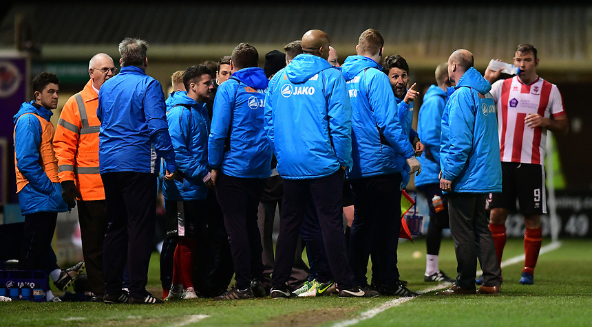 Lincoln City manager Danny Cowley and Chester manager Jon McCarthy have words on the touchline<br /> <br /> Photographer Chris Vaughan/CameraSport<br /> <br /> Vanarama National League - Lincoln City v Chester - Tuesday 11th April 2017 - Sincil Bank - Lincoln<br /> <br /> World Copyright &copy; 2017 CameraSport. All rights reserved. 43 Linden Ave. Countesthorpe. Leicester. England. LE8 5PG - Tel: +44 (0) 116 277 4147 - admin@camerasport.com - www.camerasport.com