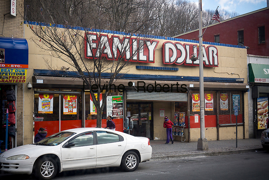 A Family Dollar store in the City of Yonkers in Westchester County in NYS is seen on Saturday, March 23, 2013. As with other dollar stores Family Dollar has added freezers and refrigerator cases for frugal food buyers. (© Richard B. Levine)