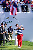 Charley Hoffman (USA) watches his tee shot on 1 during round 4 Singles of the 2017 President's Cup, Liberty National Golf Club, Jersey City, New Jersey, USA. 10/1/2017. <br /> Picture: Golffile | Ken Murray<br /> <br /> All photo usage must carry mandatory copyright credit (&copy; Golffile | Ken Murray)