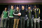 04 December 2015: From left: Portland's Darlington Nagbe, Liam Ridgewell (ENG), and head coach Caleb Porter, Columbus head coach Gregg Berhalter and players Michael Parkhurst and Kei Kamara (SLE). Major League Soccer held a press conference two days before MLS Cup 2015 between the Portland Timbers FC and Columbus Crew SC. The Press Conference was held at the Greater Columbus Convention Center in Columbus, Ohio.