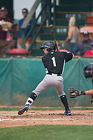 Grand Junction Rockies second baseman Hunter Stovall (1) at bat during a Pioneer League game against the Helena Brewers at Kindrick Legion Field on August 19, 2018 in Helena, Montana. The Grand Junction Rockies defeated the Helena Brewers by a score of 6-1. (Zachary Lucy/Four Seam Images)