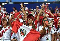 (180616) -- SARANSK, June 16, 2018 -- Fans of Peru cheer for their team before a group C match between Peru and Denmark at the 2018 FIFA World Cup WM Weltmeisterschaft Fussball in Saransk, Russia, June 16, 2018. Xu ) (SP)RUSSIA-SARANSK-2018 WORLD CUP-GROUP C-PERU VS DENMARK HexCanling <br /> Saransk 16-06-2018 Football FIFA World Cup Russia  2018 <br /> Peru - Denmark / Peru - Danimarca <br /> Foto Xinhua/Imago/Insidefoto