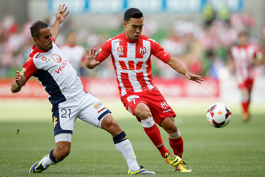 Tarek ELRICH of Adelaide and Iain RAMSAY of the Heart compete for the ball in the round eight match between Melbourne Heart and Adelaide United in the Australian Hyundai A-League 2013-24 season at AAMI Park, Melbourne, Australia. Photo Sydney Low/Zumapress<br /> <br /> This image is not for sale on this web site. Please visit zumapress.com for licensing