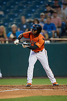 Bowie Baysox Cedric Mullins (2) squares to bunt during an Eastern League game against the Richmond Flying Squirrels on August 15, 2019 at Prince George's Stadium in Bowie, Maryland.  Bowie defeated Richmond 4-3.  (Mike Janes/Four Seam Images)
