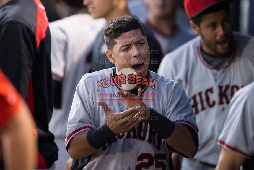 Carlos Arroyo (25)  of the Hickory Crawdads celebrates in the dugout after his team scored the first run of the game against the Asheville Tourists during Game Three of the South Atlantic League Championship at McCormick Field on September 17, 2015 in Asheville, North Carolina.  The Crawdads defeated the Tourists 5-1 to win the 2015 South Atlantic League Championship.  (Brian Westerholt/Four Seam Images)