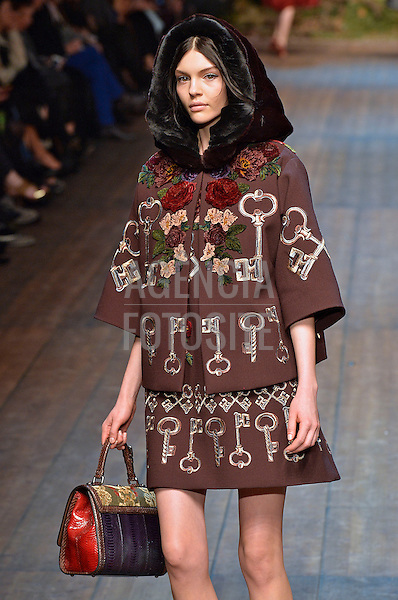 Milao, Italia &ndash; 02/2014 - Desfile de Dolce &amp; Gabbana durante a Semana de moda de Milao - Inverno 2014.&nbsp;<br /> Foto: FOTOSITE