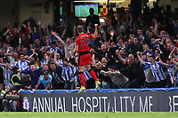 Laurent Depoitre celebrates scoring Huddersfield Town's opening goal during Chelsea vs Huddersfield Town, Premier League Football at Stamford Bridge on 9th May 2018