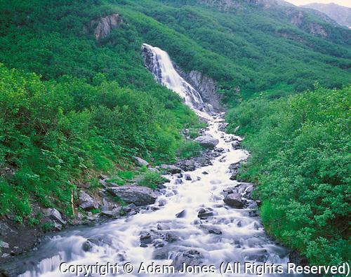 Seasonal waterfall in Chugach Mountains, Alaska