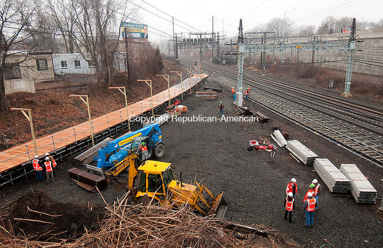 MILFORD,  CT,  CT-041015JS05- Metro-North workers continue work on the new Devon Transfer station in Milford on Friday. The station which will be used while the Housatonic Railroad Bridge undergoes repairs, is for the Waterbury line to make connections to New Haven. <br /> Jim Shannon Republican-American