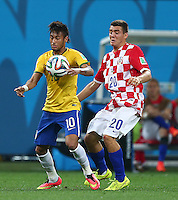 Neymar of Brazil and Mateo Kovacic of Croatia in action