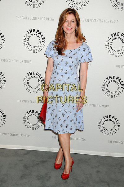 Dana Delany<br /> PaleyFest Previews: Fall TV Flashback - &quot;China Beach&quot; held at The Paley Center, Beverly Hills, California, USA, 13th September 2013.<br /> full length smiling blue print floral dress clutch bag vintage retro <br /> CAP/ADM/BP<br /> &copy;Byron Purvis/AdMedia/Capital Pictures