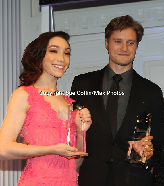 Meryl Davis & Charlie White honored - The 11th Annual Skating with the Stars Gala - a benefit gala for Figure Skating in Harlem - honoring Meryl Davis & Charlie White (Olympic Ice Dance Champions and Meryl winner on Dancing with the Stars) and presented award by Tamron Hall on April 11, 2016 on Park Avenue in New York City, New York with many Olympic Skaters and Celebrities. (Photo by Sue Coflin/Max Photos)