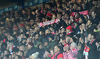Lincoln City fans watch their team in action<br /> <br /> Photographer Andrew Vaughan/CameraSport<br /> <br /> Emirates FA Cup Third Round - Everton v Lincoln City - Saturday 5th January 2019 - Goodison Park - Liverpool<br />  <br /> World Copyright &copy; 2019 CameraSport. All rights reserved. 43 Linden Ave. Countesthorpe. Leicester. England. LE8 5PG - Tel: +44 (0) 116 277 4147 - admin@camerasport.com - www.camerasport.com