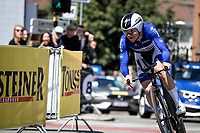 Remco Evenepoel (BEL/Deceuninck Quick Step)  confirmed his form level with a 4th place in the TT and remains leader in the GC. <br /> <br /> Baloise Belgium Tour 2019<br /> Stage 3: ITT Grimbergen – Grimbergen 9.2km<br /> ©kramon