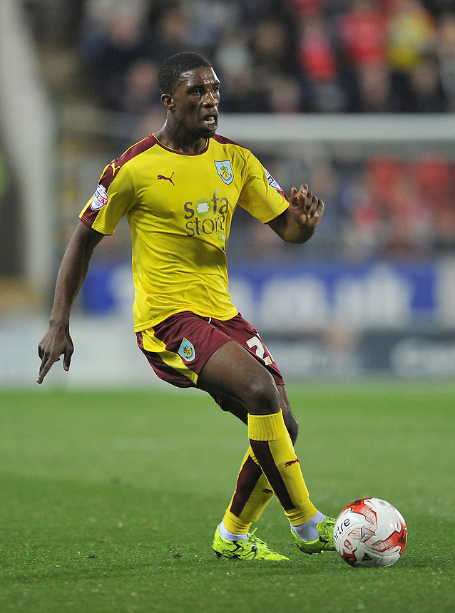 Burnley's Tendayi Darikwa<br /> <br /> Photographer Dave Howarth/CameraSport<br /> <br /> Football - The Football League Sky Bet Championship -  Rotherham United v Burnley - Friday 2nd October 2015 - AESSEAL New York Stadium - Rotherham<br /> <br /> &copy; CameraSport - 43 Linden Ave. Countesthorpe. Leicester. England. LE8 5PG - Tel: +44 (0) 116 277 4147 - admin@camerasport.com - www.camerasport.com