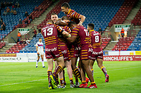 Picture by Allan McKenzie/SWpix.com - 11/05/2018 - Rugby League - Ladbrokes Challenge Cup - Huddersfield Giants v Wakefield Trinity - John Smith's Stadium, Huddersfield, England - Huddersfield's Matty English celebrates his try against Wakefield.