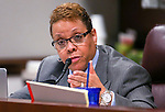 Nevada Sen. Pat Spearman, D-North Las Vegas, works in committee at the Legislative Building in Carson City, Nev., on Monday, Feb. 9, 2015. <br /> Photo by Cathleen Allison