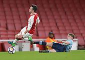 16/04/2018 Arsenal v Blackpool FAYC Semi 2L<br /> <br /> Fin Sinclair-Smith fouls Robbie Burton