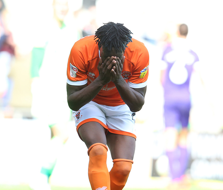 Blackpool's Armand Gnanduillet reacts to a missed chance on goal<br /> <br /> Photographer Stephen White/CameraSport<br /> <br /> The EFL Sky Bet League One - Blackpool v Portsmouth - Saturday 31st August 2019 - Bloomfield Road - Blackpool<br /> <br /> World Copyright © 2019 CameraSport. All rights reserved. 43 Linden Ave. Countesthorpe. Leicester. England. LE8 5PG - Tel: +44 (0) 116 277 4147 - admin@camerasport.com - www.camerasport.com