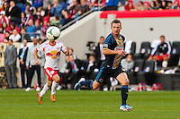 Jack McInerney (9) of the Philadelphia Union. The New York Red Bulls defeated the Philadelphia Union 2-1 during a Major League Soccer (MLS) match at Red Bull Arena in Harrison, NJ, on March 30, 2013.