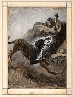 "From http://www.bestofsherlock.com/sidney- paget-original-art.htm<br /> Sidney Paget frontispiece for The Hound of the Baskervilles<br /> ""The Hound of the Baskervilles""<br /> Owner: Occidental College (Los Angeles, California)<br /> The Strand Magazine, March 1902, p. 242 (frontispiece), The Hound of the Baskervilles (Chapter XIII).<br /> Description: Original drawing (9 1/2 x 7 in), signed ""S. PAGET"" in the lower left corner and captioned by the artist in pencil as ""a hound it was, an enormous hound 