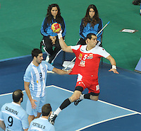 18.01.2013 Barcelona, Spain. IHF men's world championship, prelimanary round. Picture show  Mahmoud Gharbi   in action during game between Arnetina vs Tunisia at Palau St Jordi